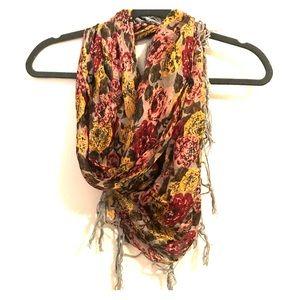 Silk scarf with fringe